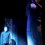 Deng Xiaoping (Radmar Agana Jao) amidst the Goddess of Democracy in East West Players' Spring Musical Beijing Spring, playing through June 15th.