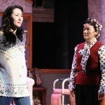 "Shelby (Ruth Coughlin), a diabetic, breaks the news to her mother M'Lynn (Patti Yasutake) that she is pregnant in East West Players' ""Steel Magnolias"""